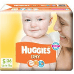 HUGGIES DRY DIAPERS S 36PCS UP TO7KG