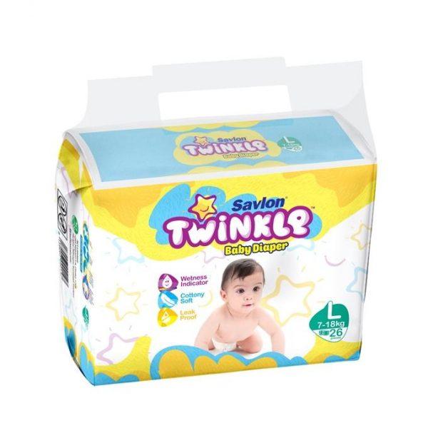 Savlon Twinkle Baby Diaper (Large/7-18kg/26pcs)